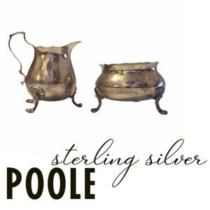 Antique Pool Gilt Sterling Silver Sugar & Creamer
